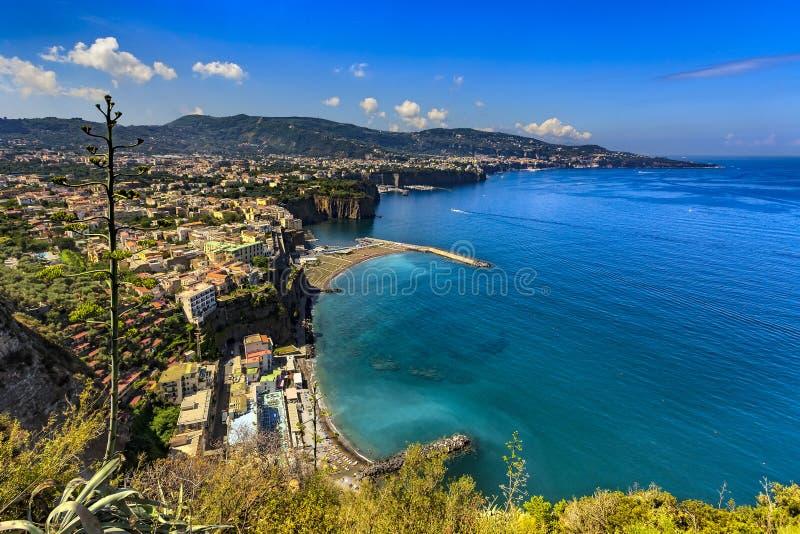 Sorrento Coast, Italy. Italy. Sorrentine Peninsula - fantastic scenery of Sorrento Coast and Meta di Sorrento in the foreground, next Sant`Agnello and Sorrento stock images