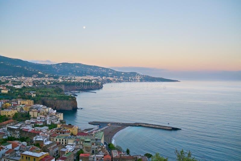 Sorrento at dawn. A view of Sorrento at dawn from Punta Scutolo stock image