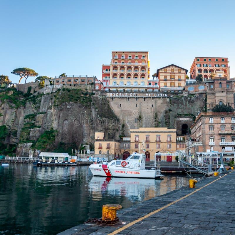 Sorrento, Amalfi Coast, Italy. Sorrento, on the famous Amalfi Coast, in the Gulf of Naples and close to Amalfi, Positano and Pompeii. View of the marina royalty free stock photography