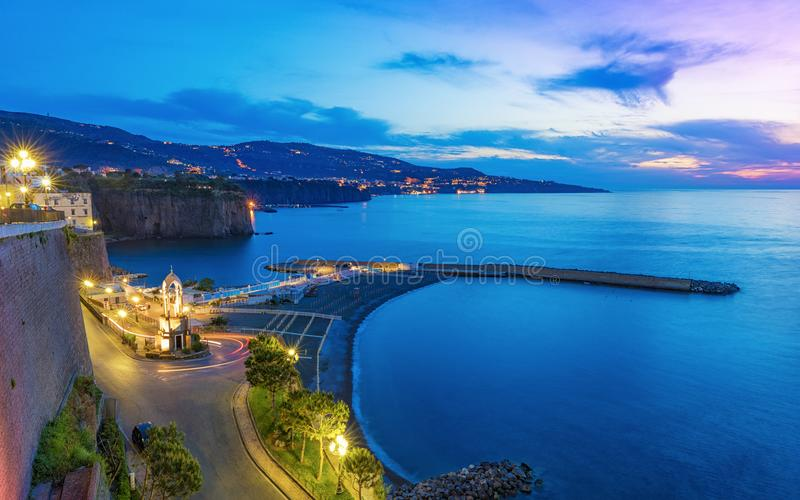 Sorrento and Gulf of Naples - popular tourist destination in Italy. Sunset view of rocky coastline Sorrento and Gulf of Naples - popular tourist destination in stock image