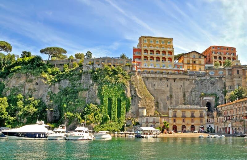 Sorrento, Italy. Historic hotels at the italian coast of Sorrento stock image