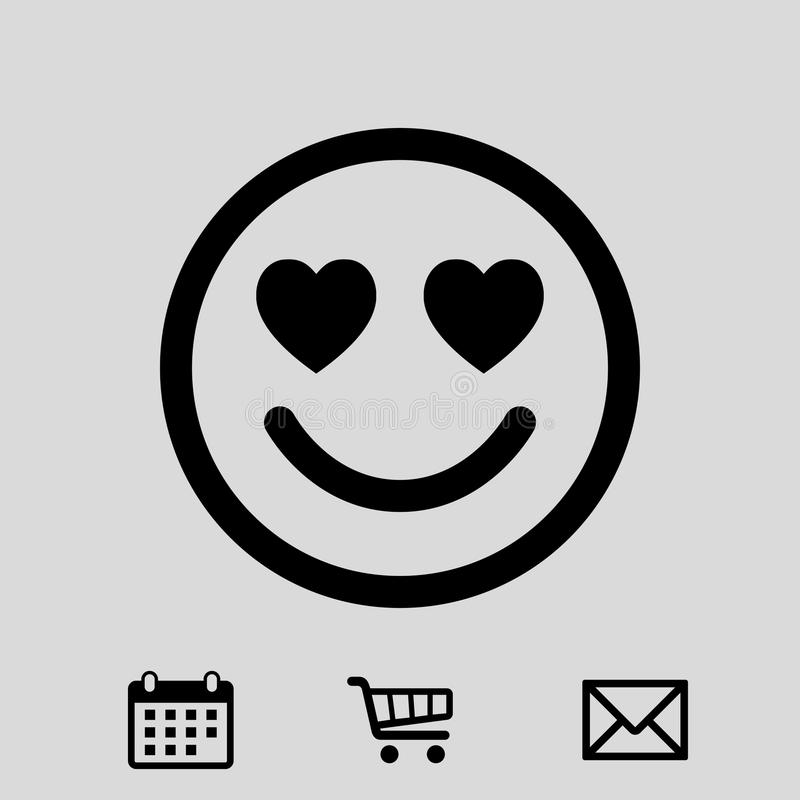 Sorrida con i cuori di progettazione piana dell'illustrazione di vettore delle azione dell'icona di amore illustrazione vettoriale