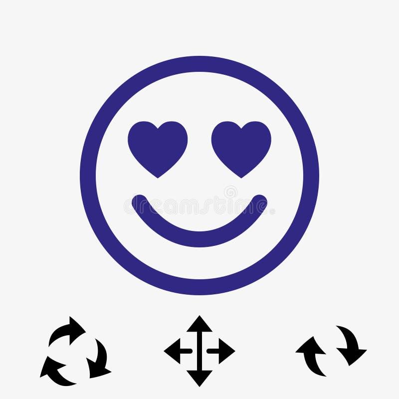 Sorrida con i cuori di progettazione piana dell'illustrazione di vettore delle azione dell'icona di amore royalty illustrazione gratis