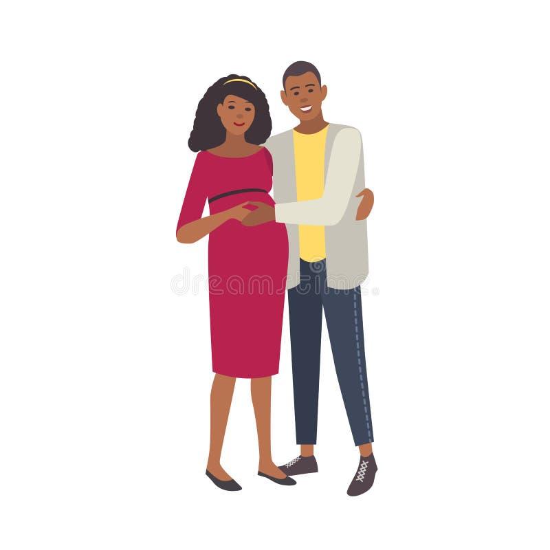 Sorridere abbracciando donna incinta ed uomo isolati su fondo bianco Coppie i giovani genitori amorosi Gravidanza felice illustrazione vettoriale