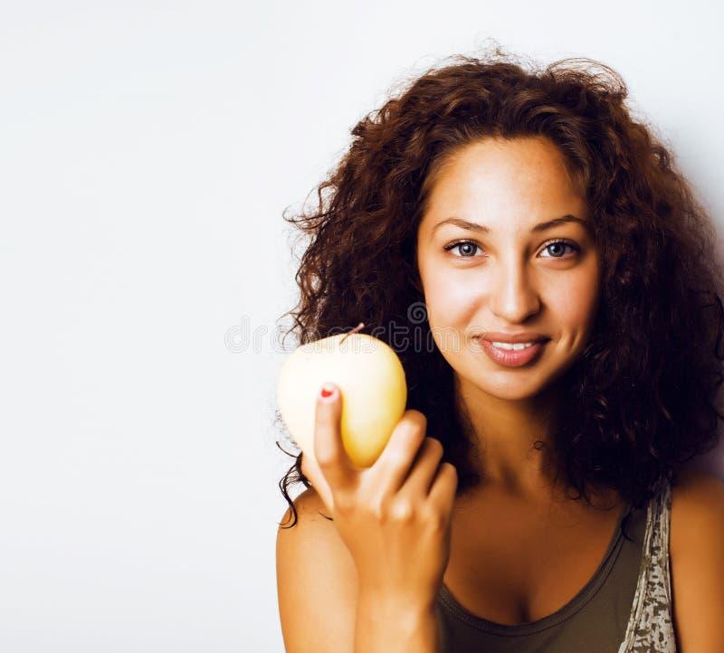 Sorridere alto vicino di tenage della ragazza della mela reale abbastanza giovane di cibo immagine stock