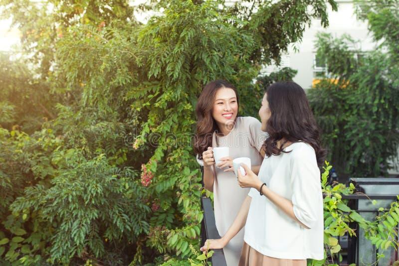 Sorridere ben vestito degli amici felici delle giovani donne mentre stando a immagini stock