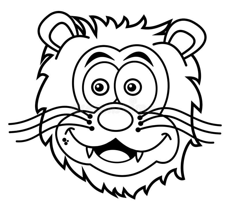 Sorridere capo del leone per colorare illustrazione di stock