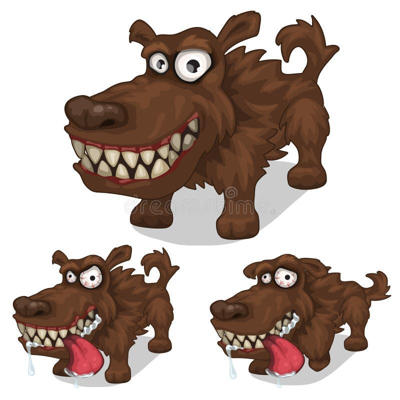Sorridere del fumetto e cane pazzo Animale domestico di vettore illustrazione vettoriale