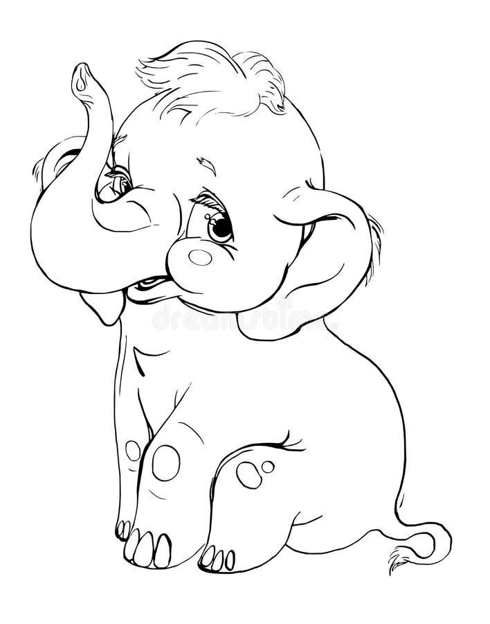 Sorridere dell'elefante disegno di contorno illustrazione vettoriale