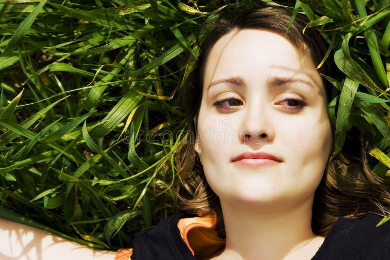 sorridere dell'erba di bellezza immagine stock