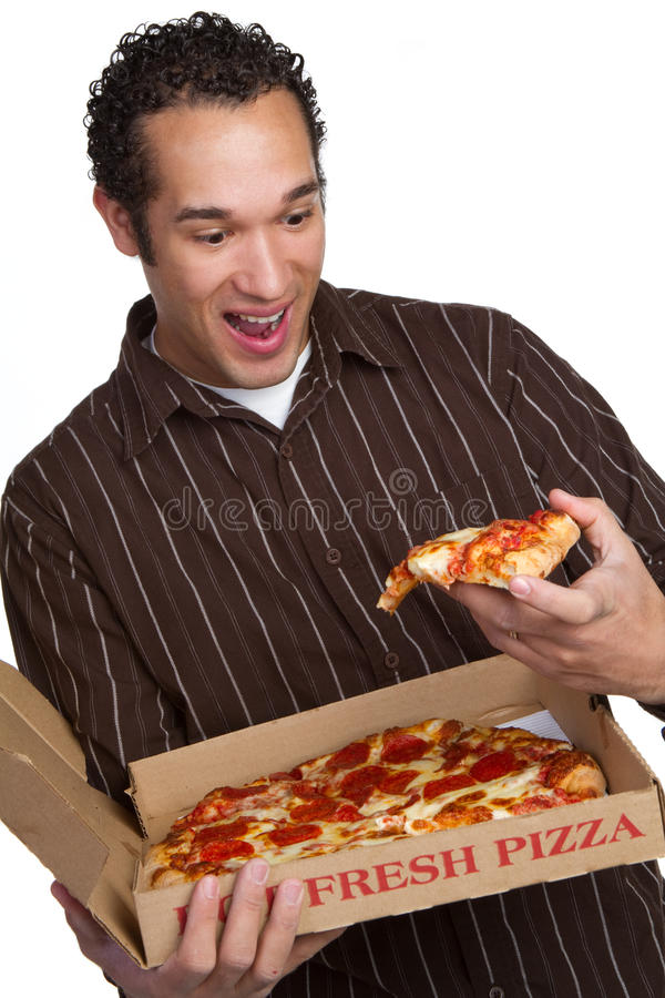 Sorridere dell'uomo della pizza immagini stock libere da diritti
