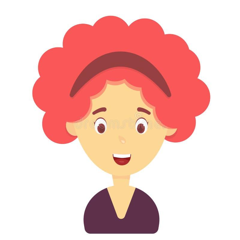Sorridere della donna Emozione femminile, espressione del fronte Personaggio dei cartoni animati sveglio illustrazione vettoriale