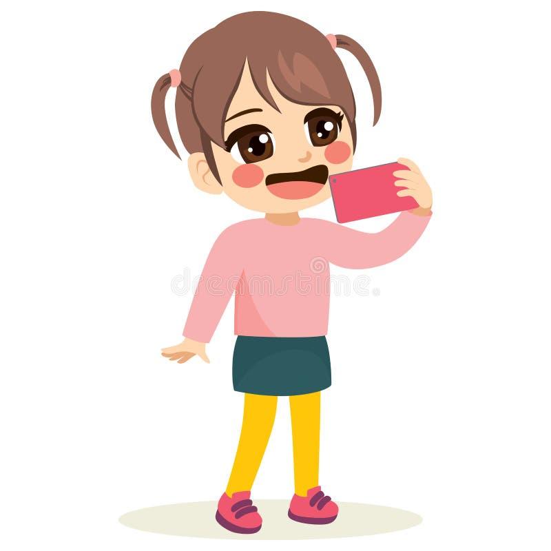Sorridere della ragazza di Smartphone Selfie illustrazione vettoriale