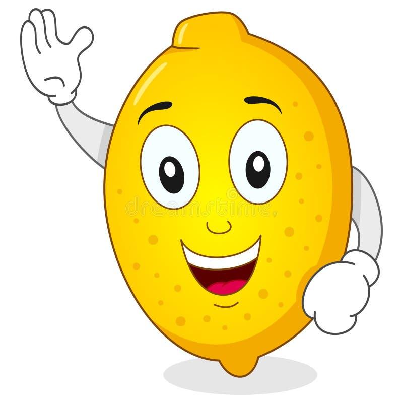 Sorridere divertente del carattere del limone illustrazione di stock