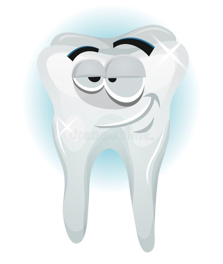 Sorridere felice del carattere del dente royalty illustrazione gratis