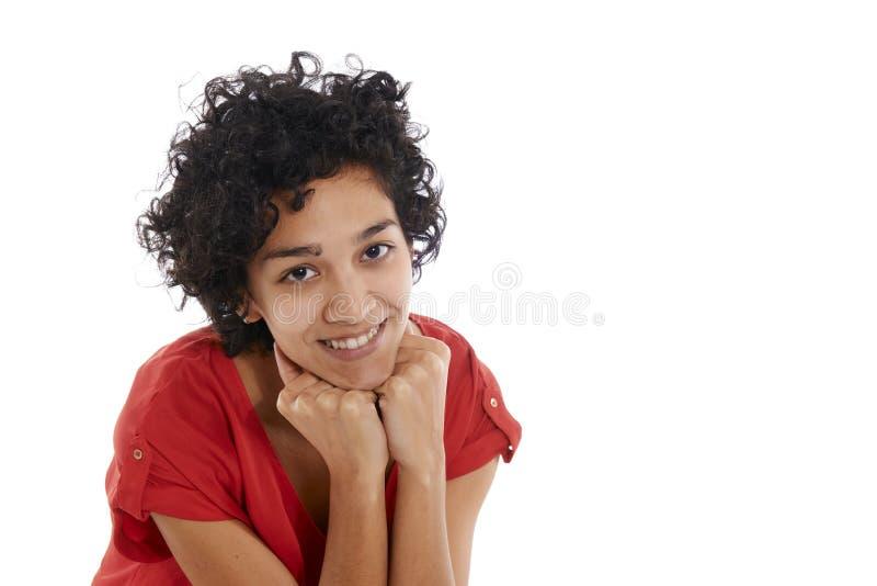 Sorridere ispanico felice della ragazza sicuro alla macchina fotografica immagine stock libera da diritti
