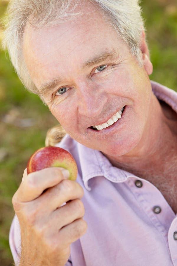 Sorridere mangiatore di uomini maggiore della mela immagini stock libere da diritti