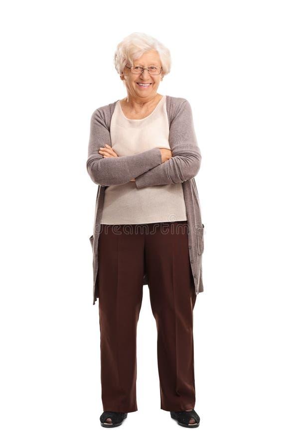 Sorridere senior contento di signora fotografia stock