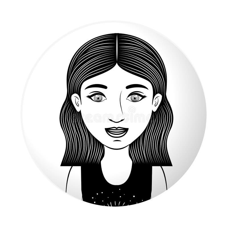 Sorridere teenager del mezzo ente della sfera con i capelli ondulati royalty illustrazione gratis