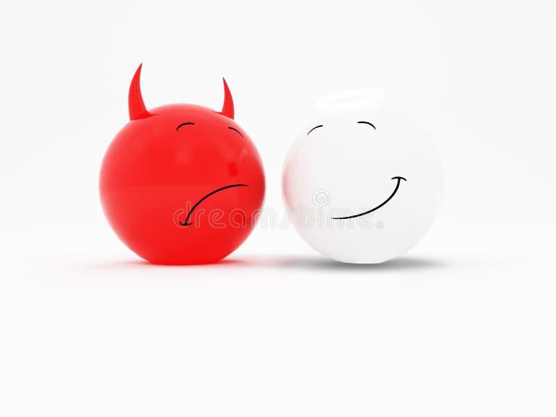 Sorriem os bens e o mal ilustração stock