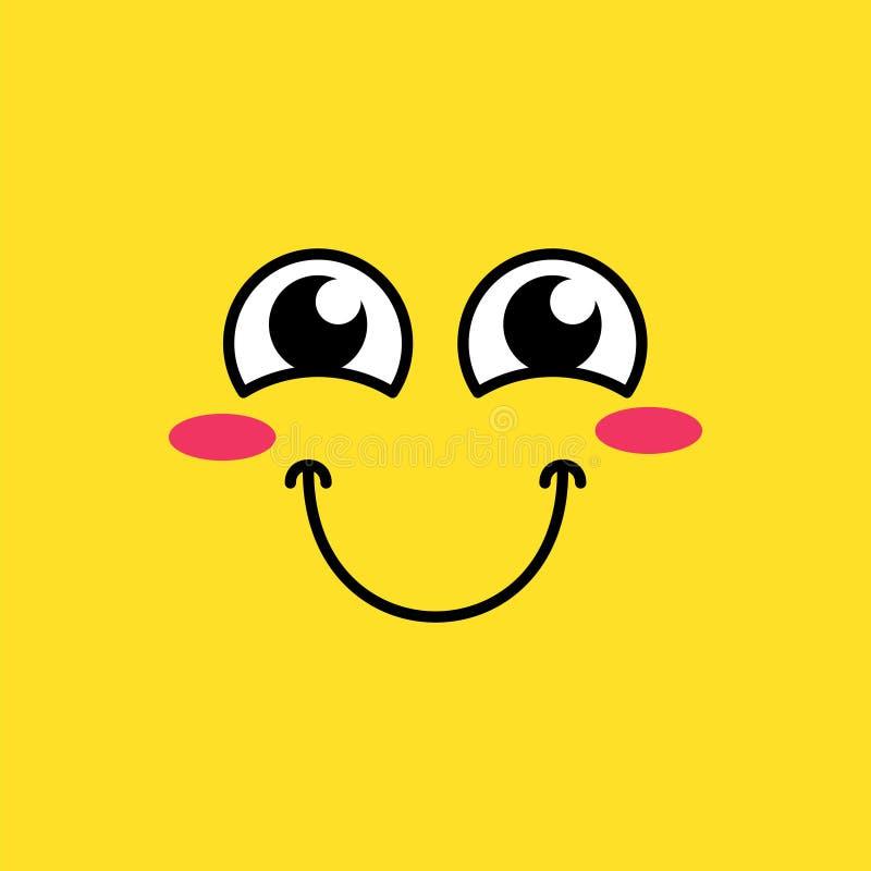 Sorrindo, ilustração de cora do vetor do emoji ilustração stock