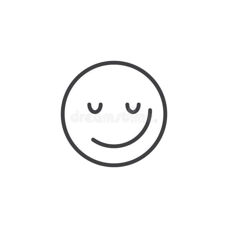 Sorrindo a linha ?cone do emoji da cara ilustração do vetor
