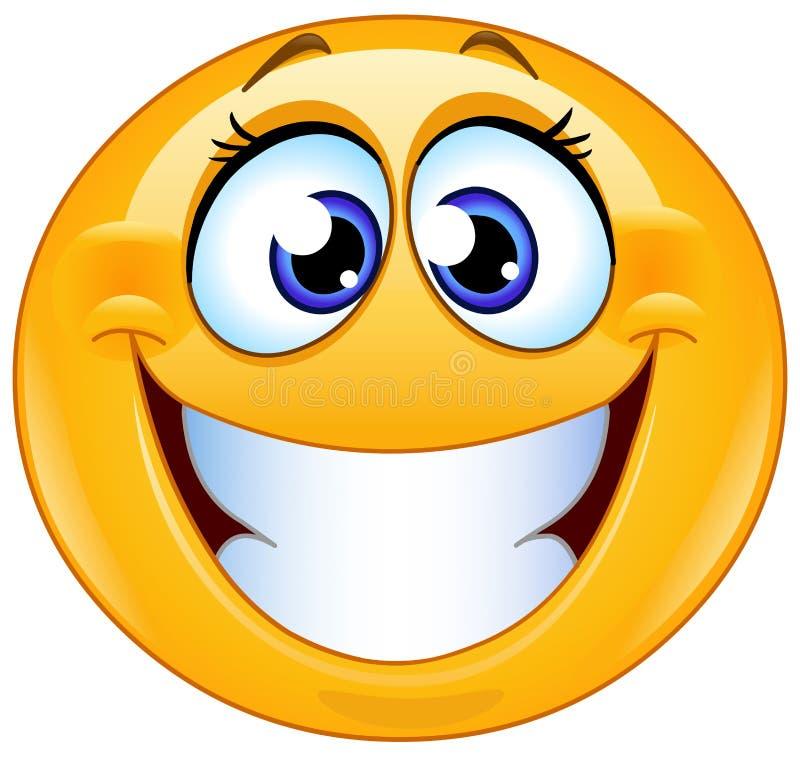 Sorrindo o emoticon fêmea ilustração royalty free