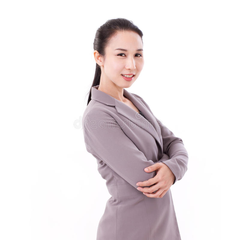 Sorrindo, retrato fêmea feliz, seguro do executivo empresarial imagens de stock