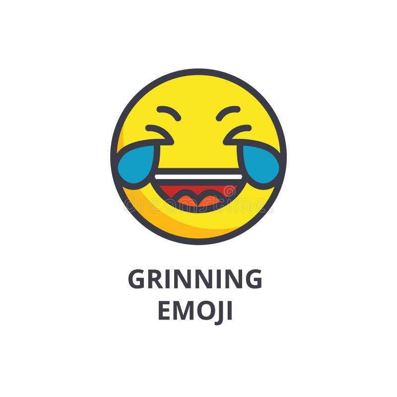 Sorrindo a sagacidade h do emoji enfrente a linha ícone do vetor, sinal, ilustração no fundo, cursos editáveis ilustração royalty free