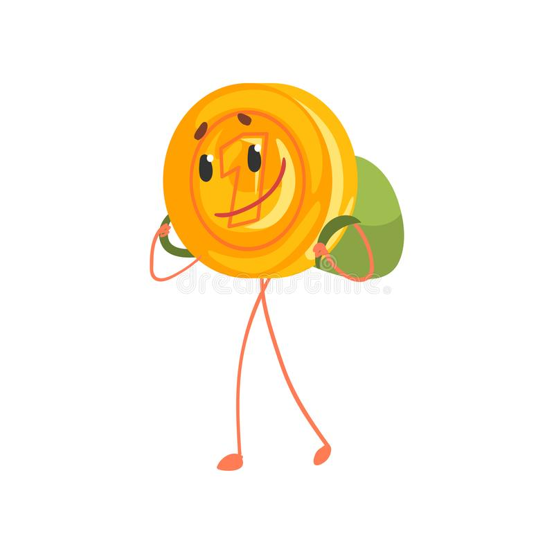 Sorrindo um caráter do centavo que anda com trouxa sobre para trás Ícone dourado da moeda de um centavo dos desenhos animados Din ilustração do vetor