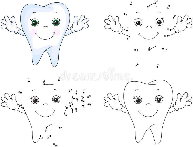 Sorrisi del dente del fumetto Libro da colorare e punto per punteggiare gioco per i bambini illustrazione vettoriale