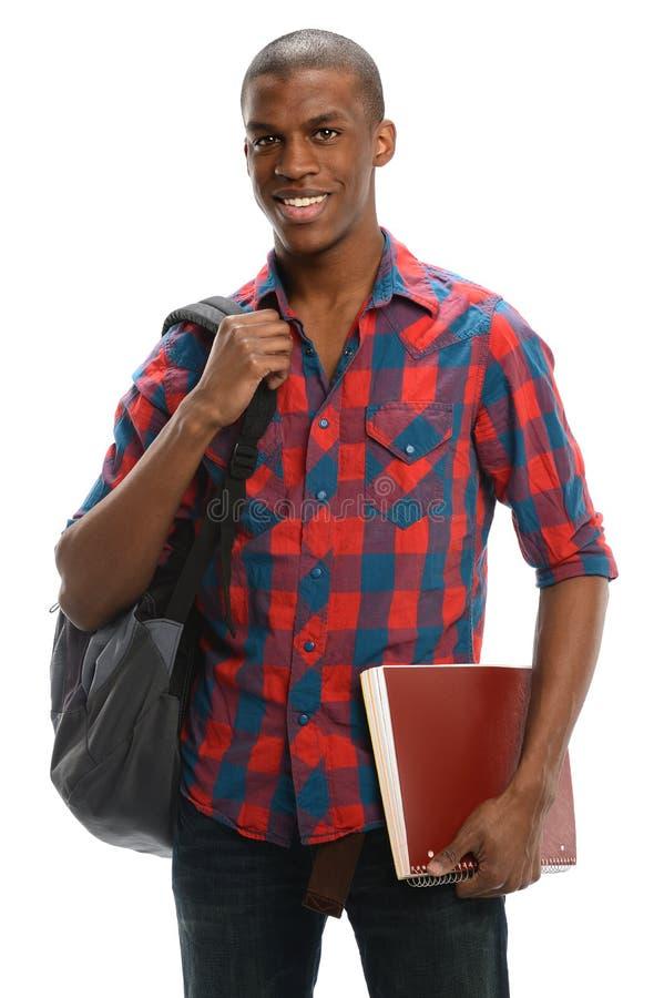 Sorriso americano africano do estudante fotografia de stock