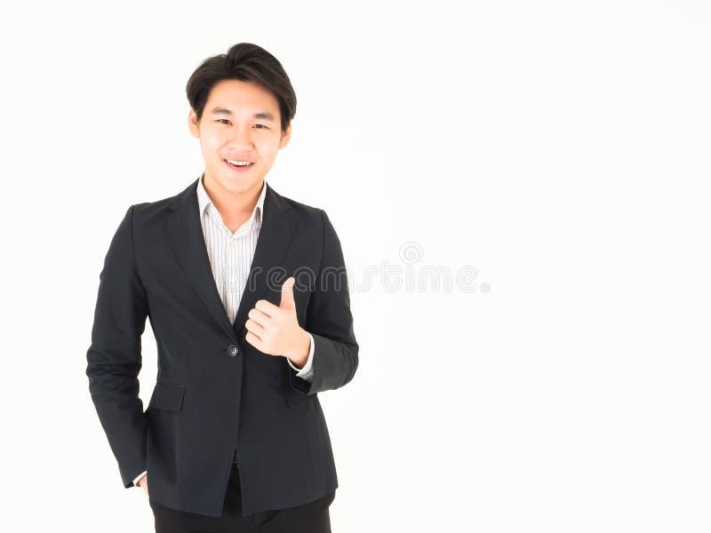 Sorriso amichevole bello asiatico dell'uomo di affari fotografia stock
