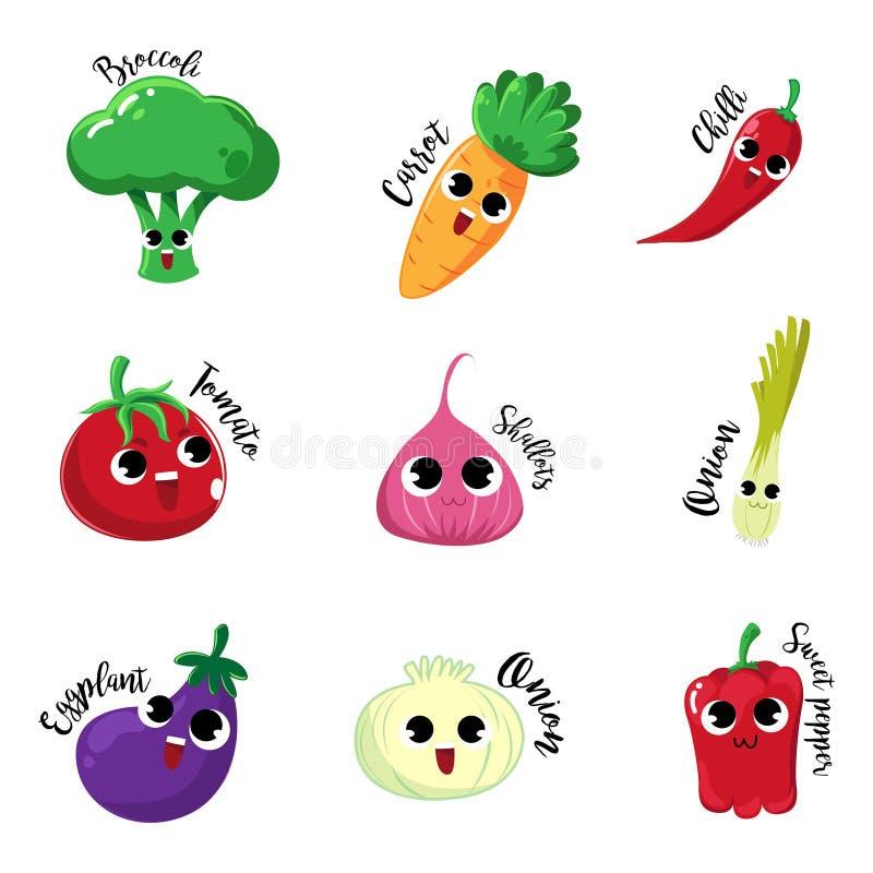 Sorriso amichevole e felice di emozione di verdure del fumetto illustrazione di stock