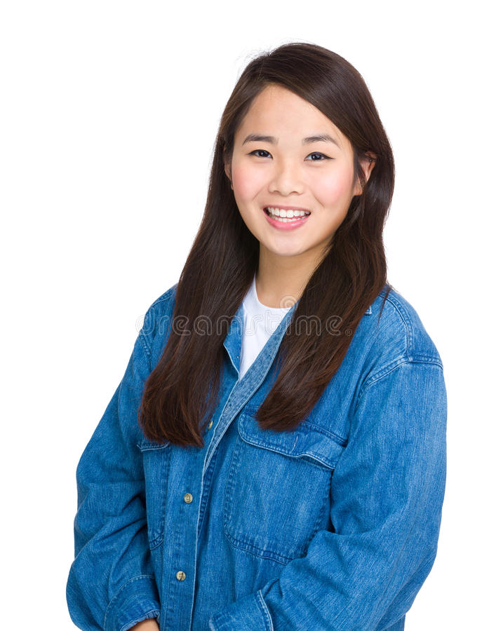 Sorriso asiático da mulher fotografia de stock