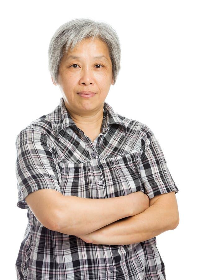 Sorriso asiático maduro da mulher fotografia de stock royalty free