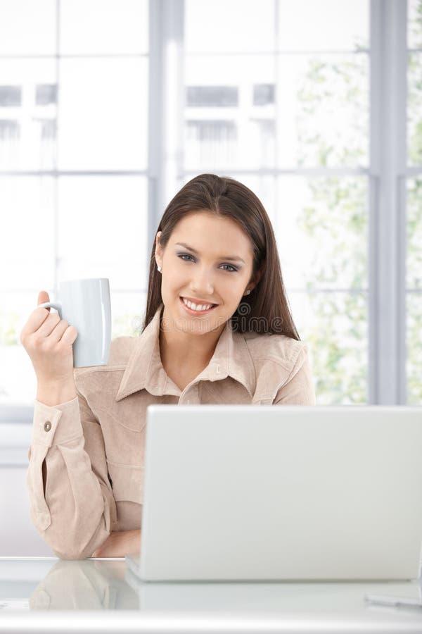 Sorriso atrativo da mulher de negócios imagens de stock