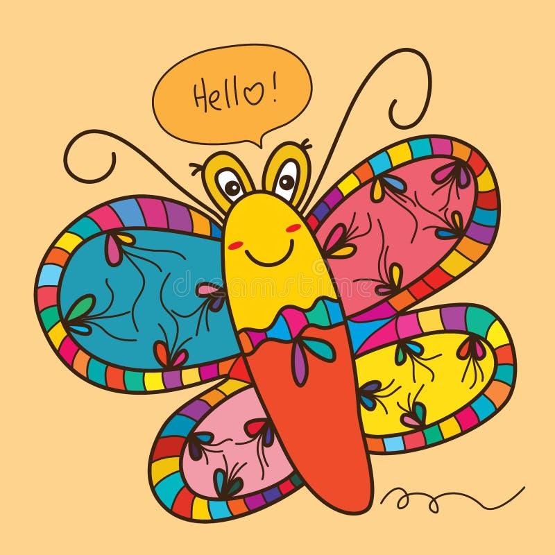 Sorriso bonito da borboleta dos desenhos animados ilustração do vetor