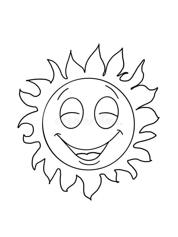 Sorriso bonito do sol e desenhos animados felizes do desenho da ilustração e fundo branco ilustração royalty free