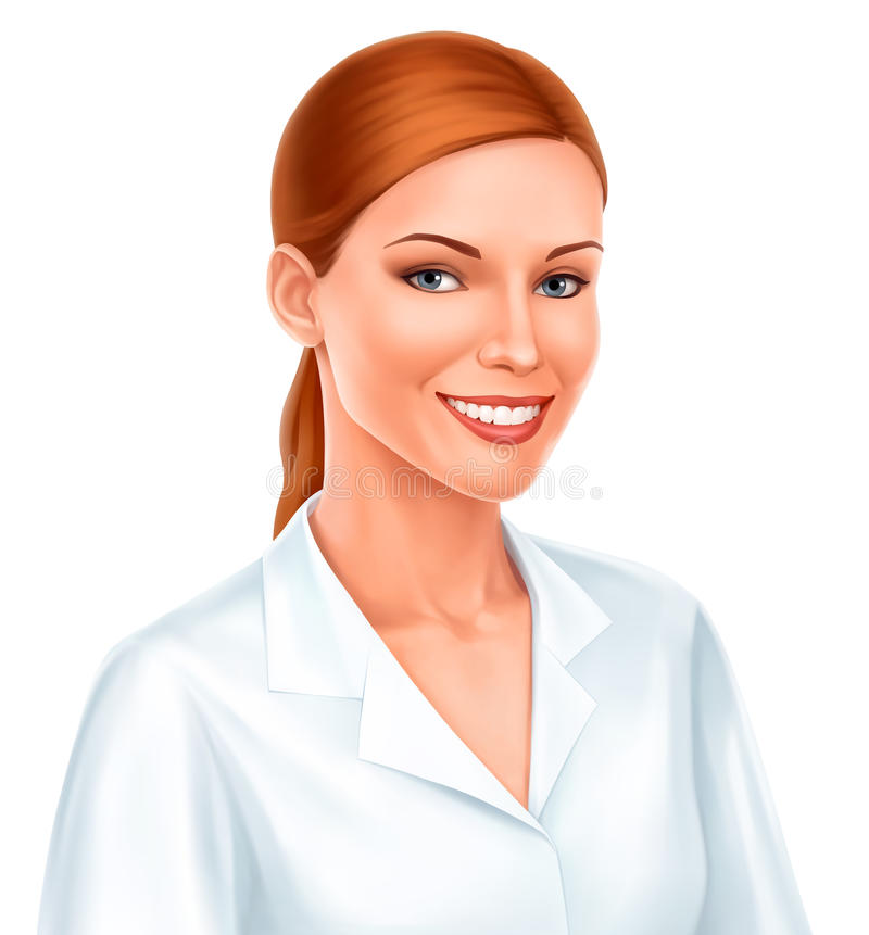 Sorriso bonito novo da mulher de negócio ilustração do vetor