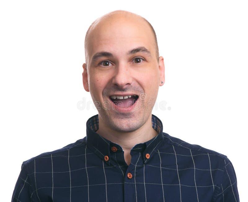 Sorriso calvo considerável feliz do homem Isolado fotografia de stock royalty free