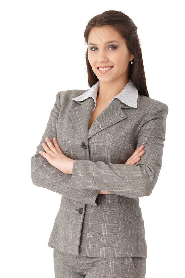 Sorriso confiável da mulher de negócios foto de stock