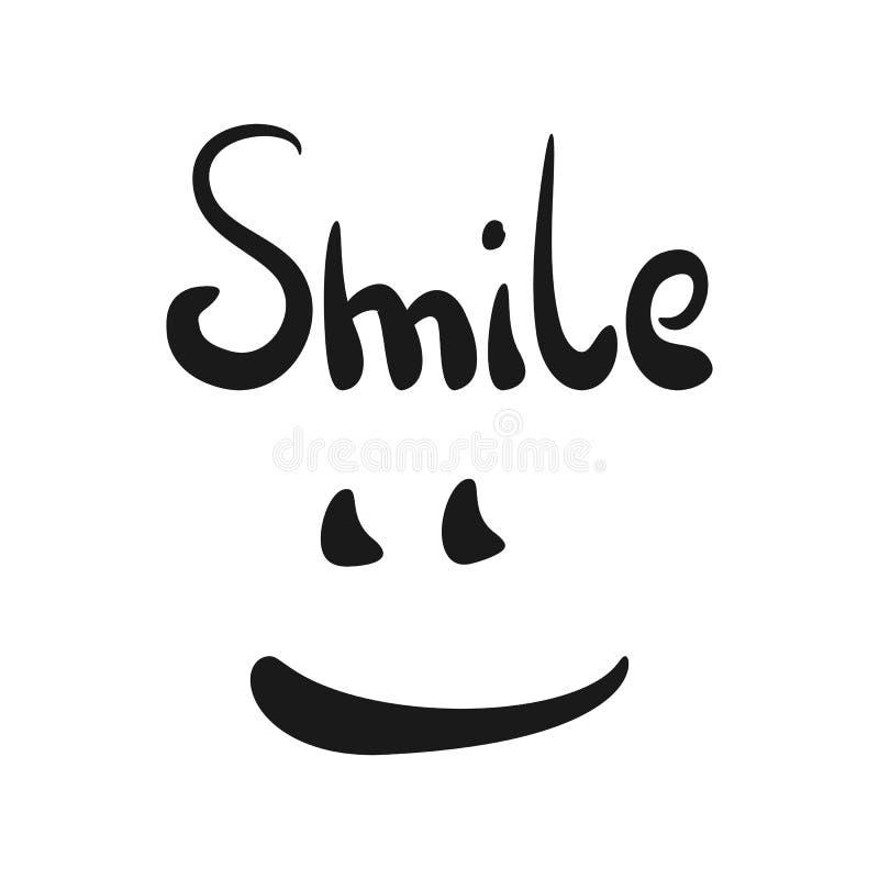 Sorriso da escrita Boca e olhos de sorriso ilustração do vetor