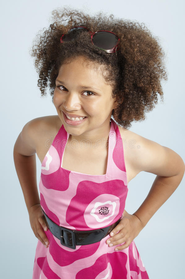 Sorriso da menina da raça misturada fotos de stock royalty free