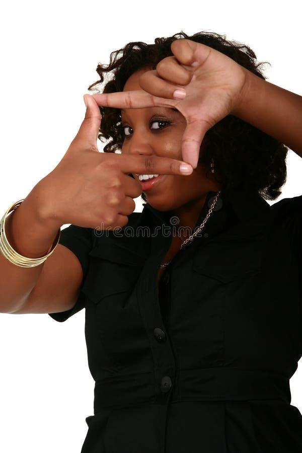 Sorriso da menina do americano africano fotos de stock