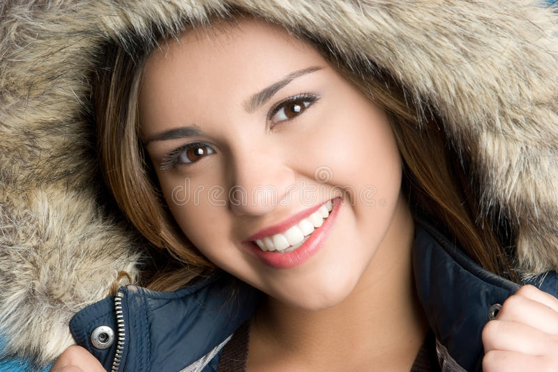 Sorriso da menina do inverno fotografia de stock
