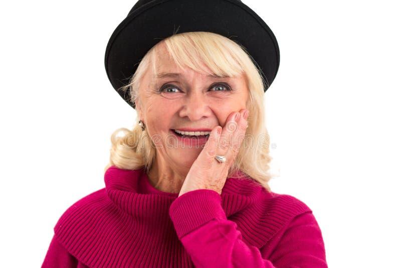 Sorriso da mulher e cara tocante fotografia de stock