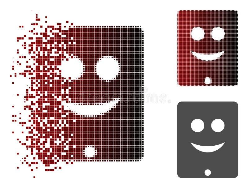 Sorriso de intervalo mínimo fragmentado Smiley Icon do comunicador de Pixelated ilustração do vetor