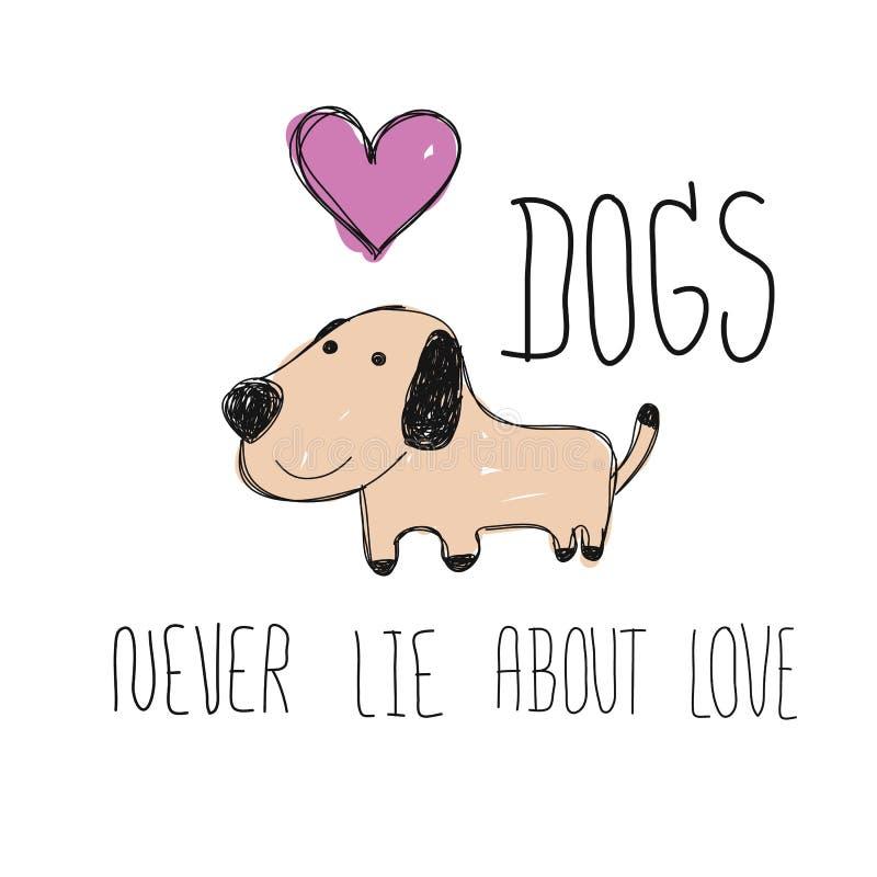 Sorriso del cane con lo scarabocchio rosa del disegno del bambino di lerciume del cuore con la parola royalty illustrazione gratis
