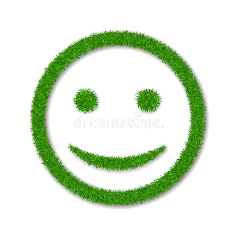 Sorriso del fronte dell'erba verde Icona erbosa sorridente, fondo bianco isolato Concetto di ecologia Segno sorridente felice Eco illustrazione di stock